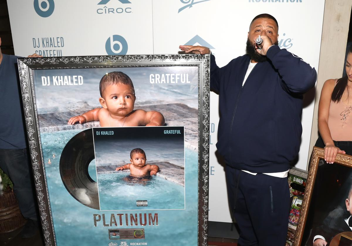 DJ Khaled Enjoying A New Platinum Plaque