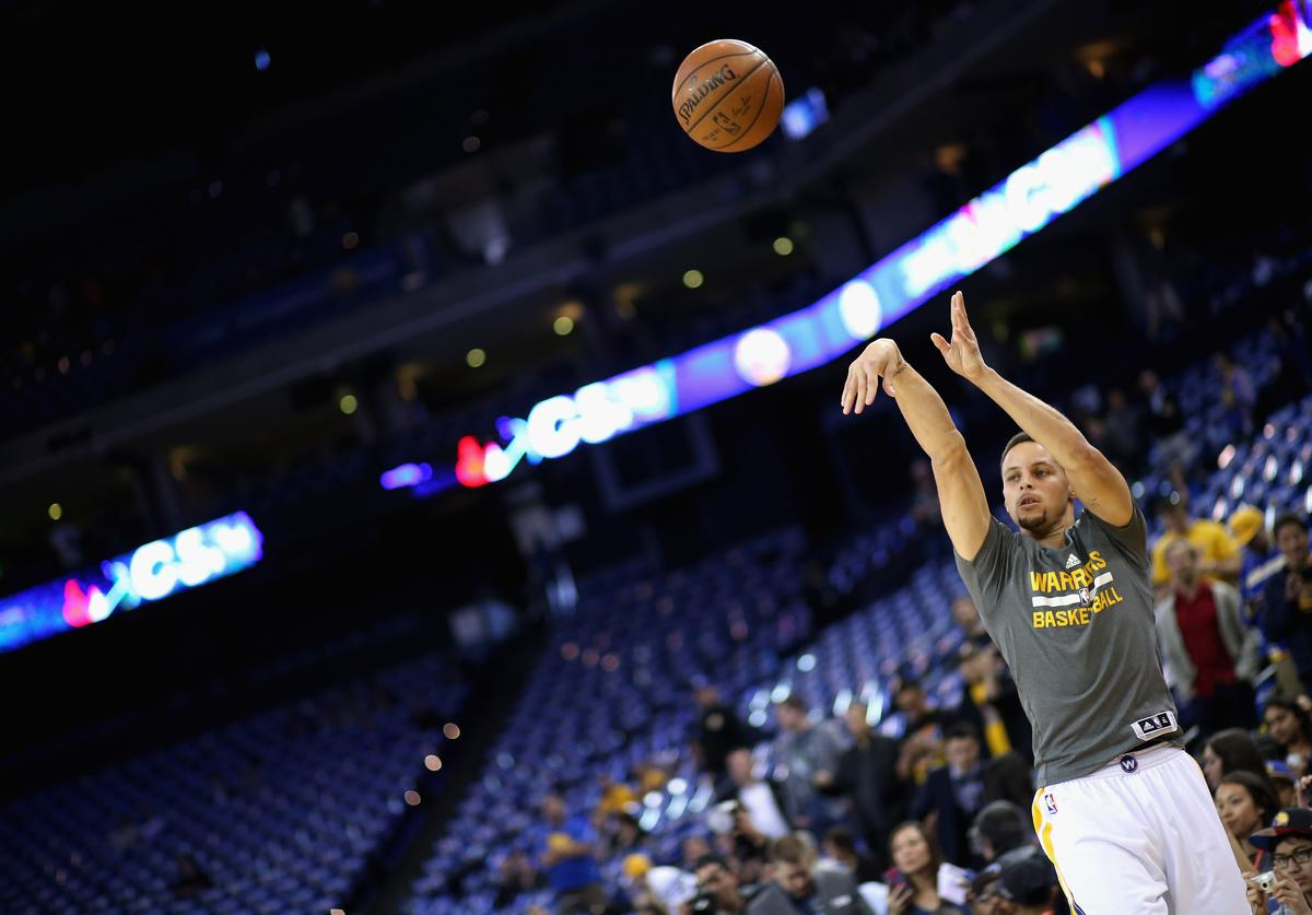 Steph Curry at Dallas Mavericks v Golden State Warriors