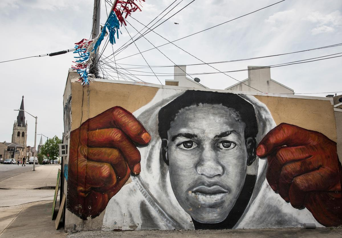 A mural of Trayvon Martin is seen on the side of a building in the Sandtown neighborhood where Freddie Gray was arrested on April 30, 2015 in Baltimore, Maryland. Gray, 25, was arrested for possessing a switch blade knife April 12 outside the Gilmor Houses housing project on Baltimore's west side. According to his attorney, Gray died a week later in the hospital from a severe spinal cord injury he received while in police custody.