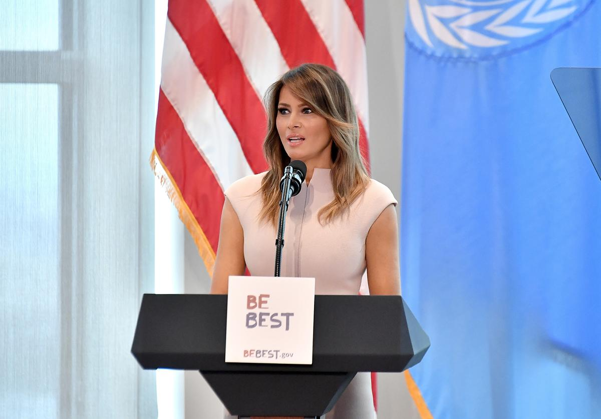 U.S. first lady Melania Trump hosts a reception in honor of United Nations General Assembly attendees at the U.S mission to the UN building on September 26, 2018 in New York City.