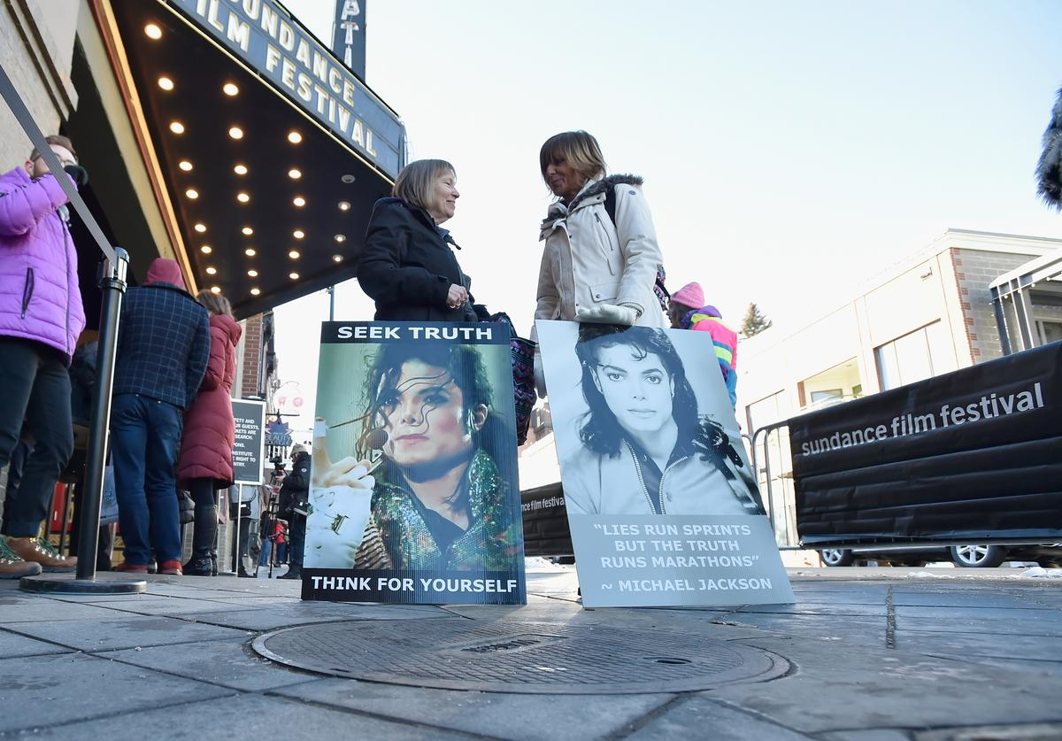 "Protesters outside ""Leaving Neverland"" screening"