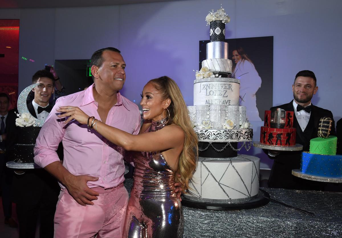 Alex Rodriguez (L) and Jennifer Lopez attend the after party for the finale of the 'JENNIFER LOPEZ: ALL I HAVE' residency at MR CHOW at Caesars Palace on September 30, 2018 in Las Vegas, Nevada