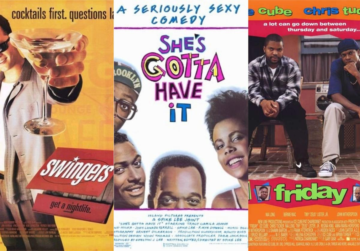"""Movie posters for """"Swingers,"""" """"She's Gotta Have It"""" and """"Friday"""""""