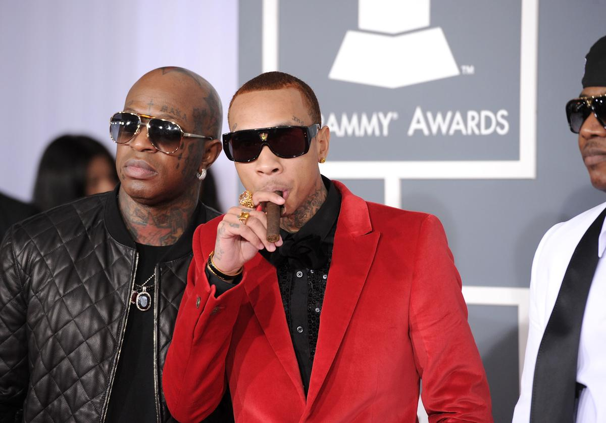 Birdman and Tyga arrive at the 54th Annual GRAMMY Awards held at Staples Center on February 12, 2012 in Los Angeles, California