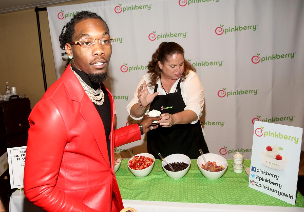 Offset of Migos attends the Pinkberry green room backstage at Nickelodeon's 2019 Kids' Choice