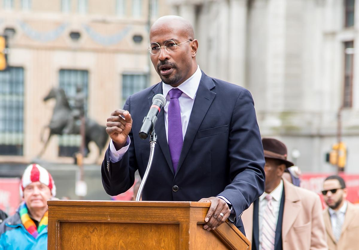Van Jones is seen during REFORM Alliance campaign for criminal justice reform to introduce House Bill 1925 on April 2, 2019 in Philadelphia, Pennsylvania