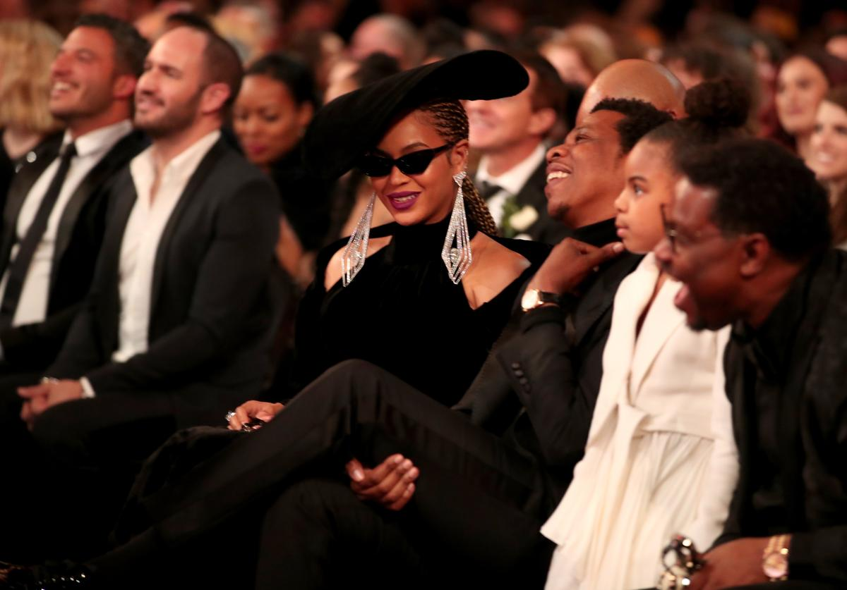 Beyonce, Jay Z and their daughter Blue Ivy Carter attend the 60th Annual GRAMMY Awards