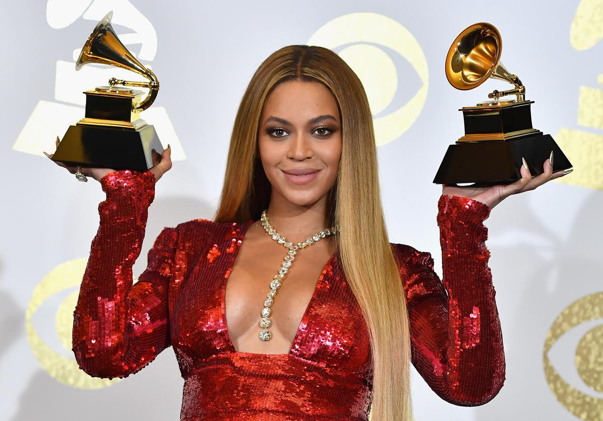 Singer Beyonce, winner of Best Urban Contemporary Album for 'Lemonade' and Best Music Video for 'Formation