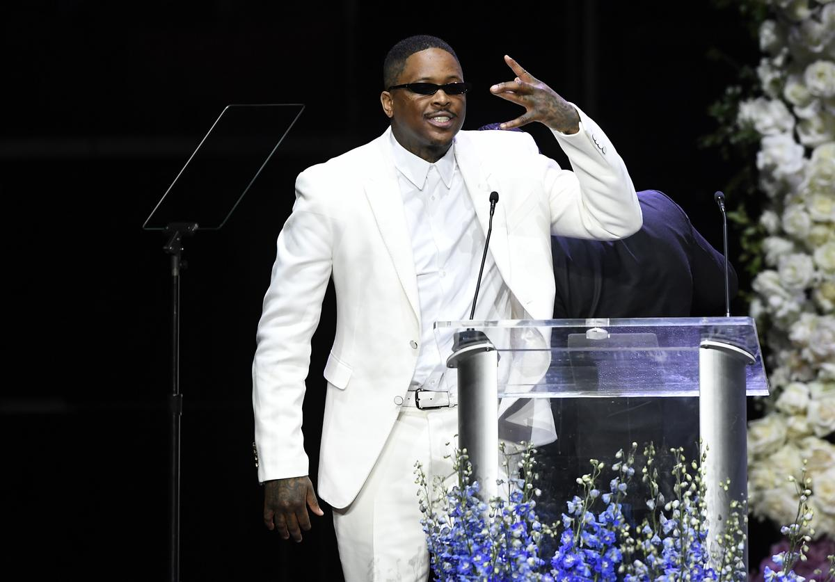 YG attends Nipsey Hussle's Celebration of Life at STAPLES Center on April 11, 2019 in Los Angeles, California
