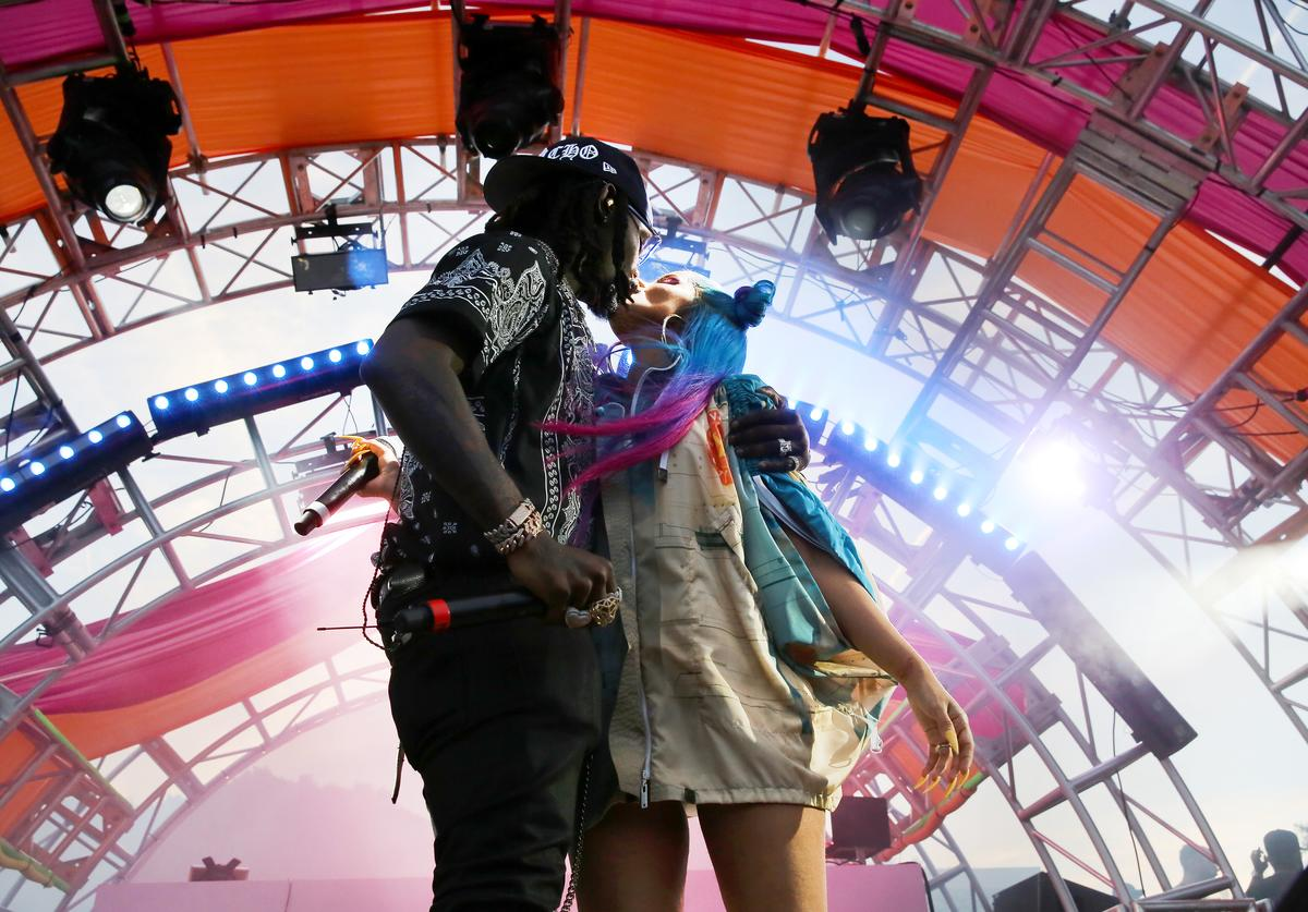 Offset and Cardi B perform onstage during #REVOLVEfestival Day 2 at Merv Griffin Estate on April 14, 2019 in La Quinta, California
