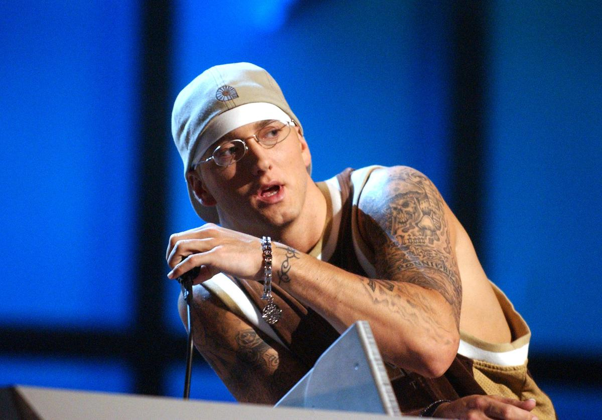 Eminem during 2003 MTV Video Music Awards - Show at Radio City Music Hall in New York City, New York, United States