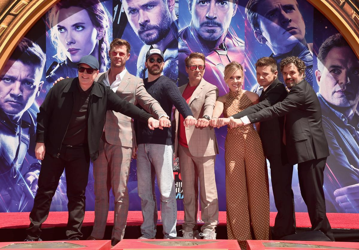 President of Marvel Studios/Producer Kevin Feige, Chris Hemsworth, Chris Evans, Robert Downey Jr., Scarlett Johansson, Mark Ruffalo, and Jeremy Renner attends the Marvel Studios' 'Avengers: Endgame' cast place their hand prints in cement at TCL Chinese Theatre IMAX Forecourt at TCL Chinese Theatre IMAX on April 23, 2019 in Hollywood, California.