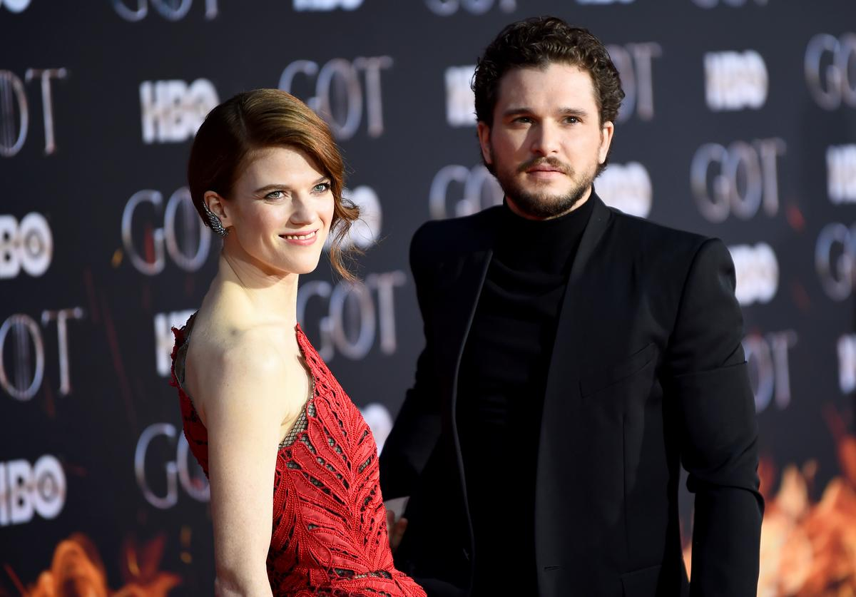 """Rose Leslie and Kit Harington attend the """"Game Of Thrones"""" Season 8 Premiere on April 03, 2019 in New York City."""