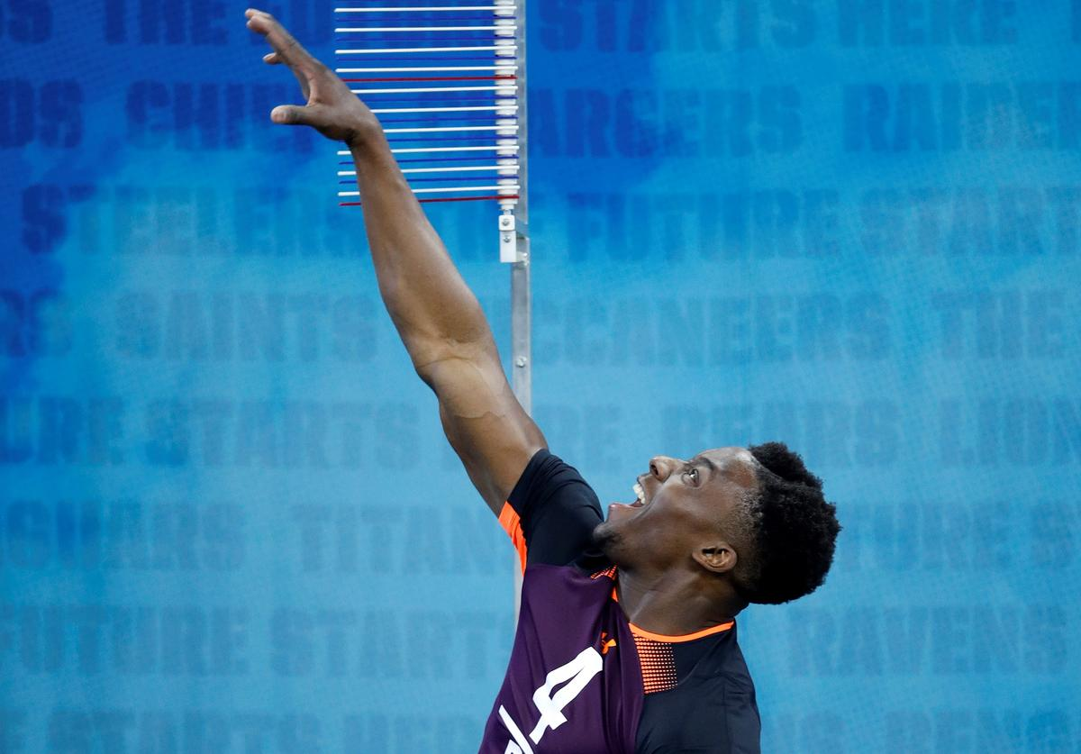 Defensive back Corey Ballentine of Washburn competes in the vertical jump during day five of the NFL Combine at Lucas Oil Stadium on March 4, 2019 in Indianapolis, Indiana.