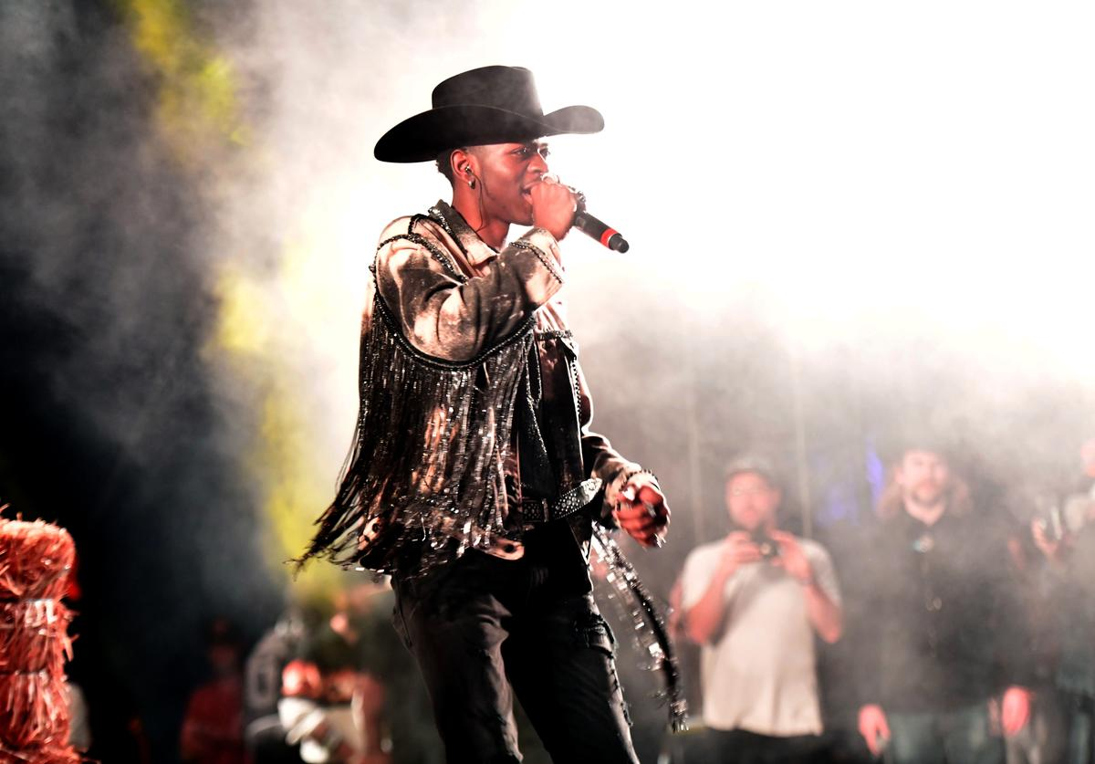Lil Nas X performs onstage as a special guest of Diplo during Day 3 of the Stagecoach Music Festival on April 28, 2019 in Indio, California