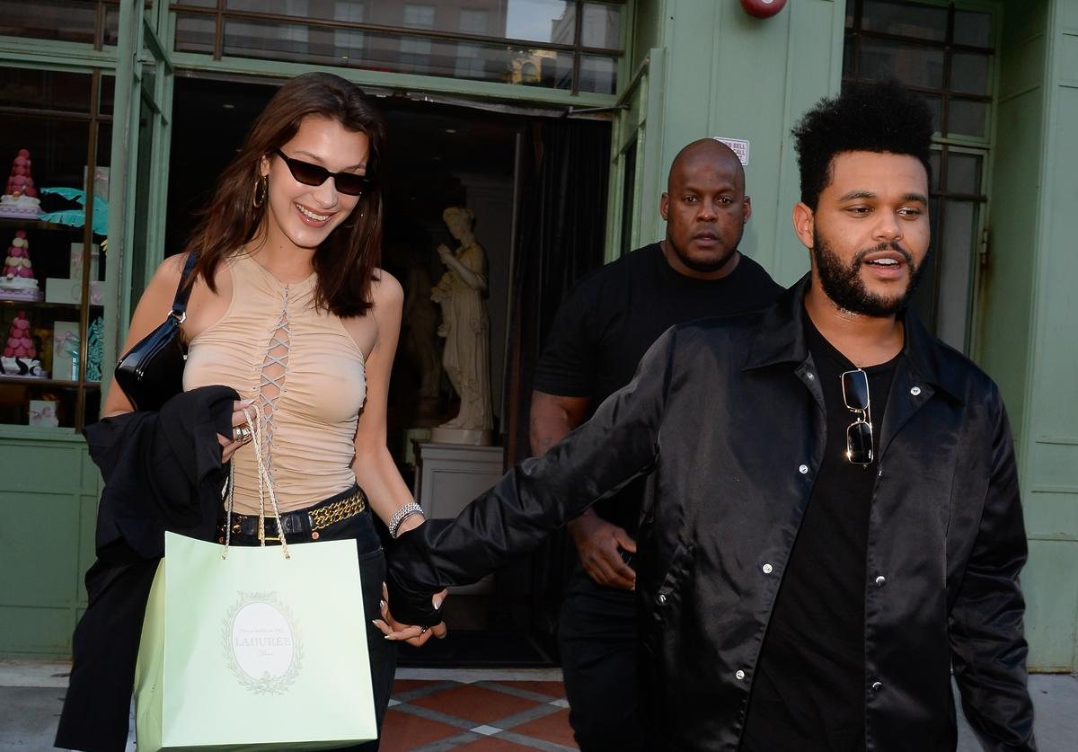 Bella Hadid and The Weeknd are seen in Soho on October 9, 2018 in New York City