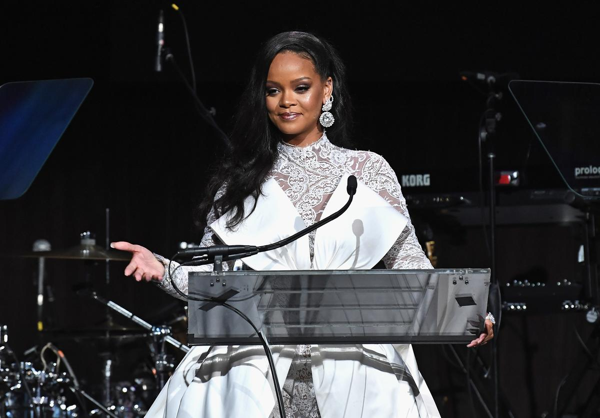 Rihanna speaks onstage during Rihanna's 4th Annual Diamond Ball benefitting The Clara Lionel