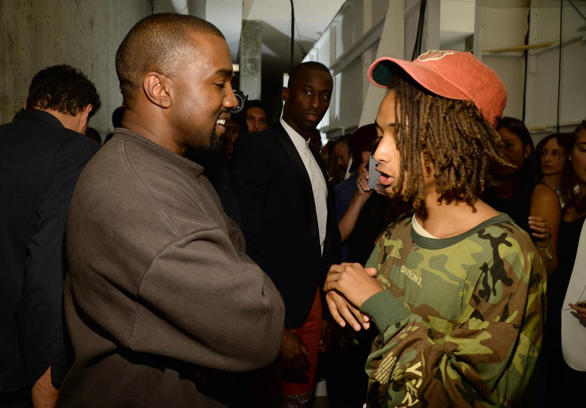 Kanye West and Jaden Smith attend Kanye West Yeezy Season 2 during New York Fashion Week at Skylight Modern on September 16, 2015 in New York City