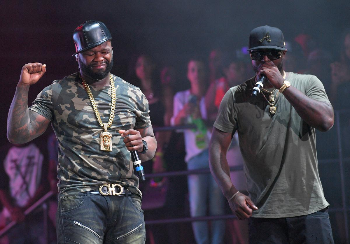50 Cent and Young Buck performs at Birthday Bash ATL The Heavyweights of HIP HOP Live in Concert at Philips Arena on June 18, 2016 in Atlanta, Georgia.