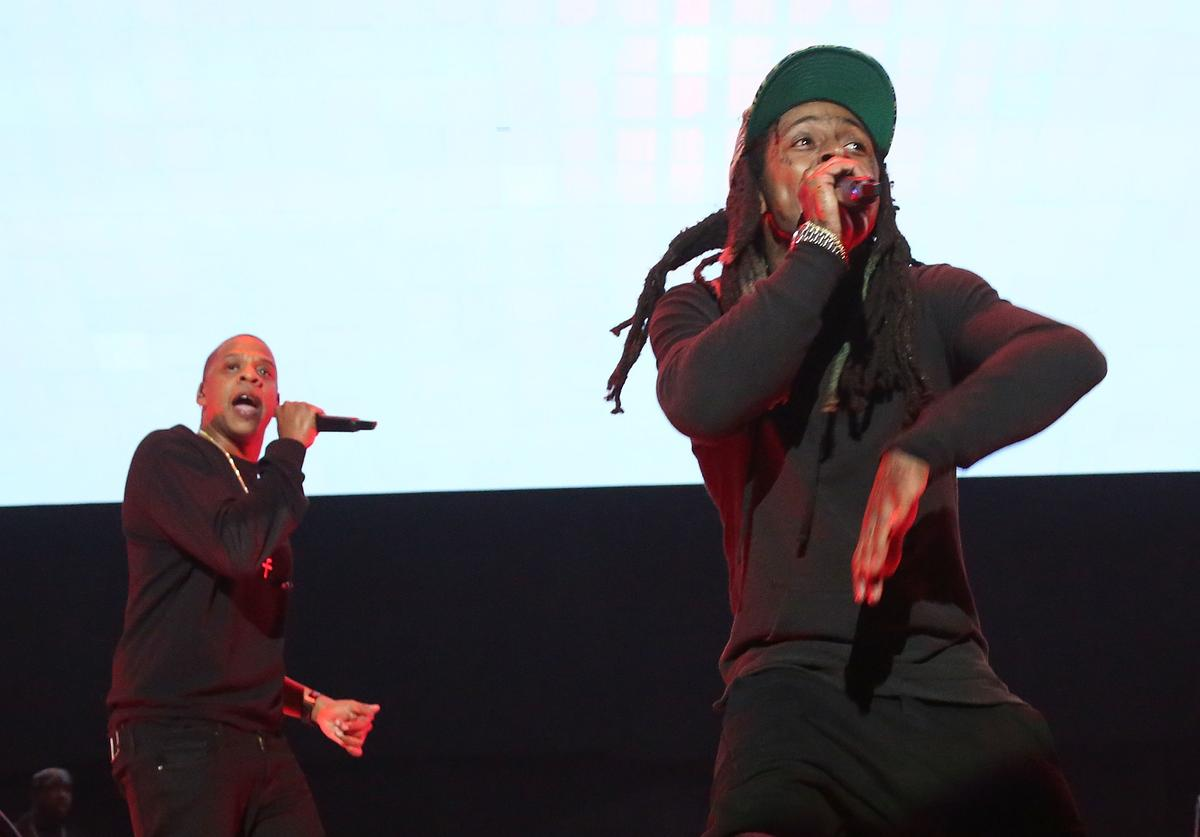 Jay Z and Lil Wayne perform during Tidal X: 1020 at Barclays Center on October 20, 2015 in the Brooklyn borough of New York City