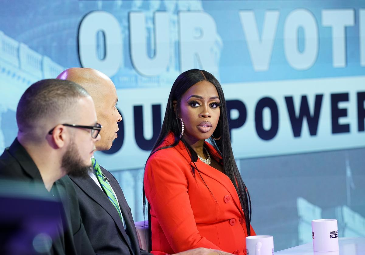 "Recording artist Remy Ma (C) attends the ""Our Vote, Our Power"" Mid Term Election Special at Times Square Studios on October 22, 2018 in New York City."