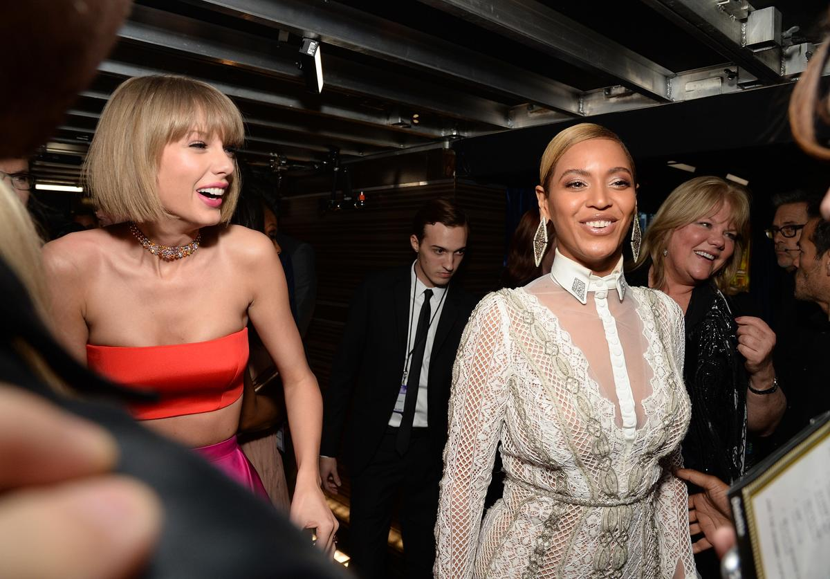 Taylor Swift (L) and Beyonce attend The 58th GRAMMY Awards at Staples Center on February 15, 2016 in Los Angeles, California