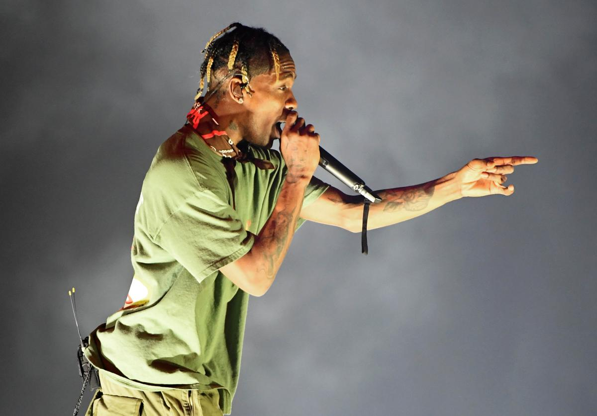 Recording artist Travis Scott performs during a stop of his Astroworld: Wish You Were Here tour at T-Mobile Arena on February 6, 2019 in Las Vegas, Nevada.