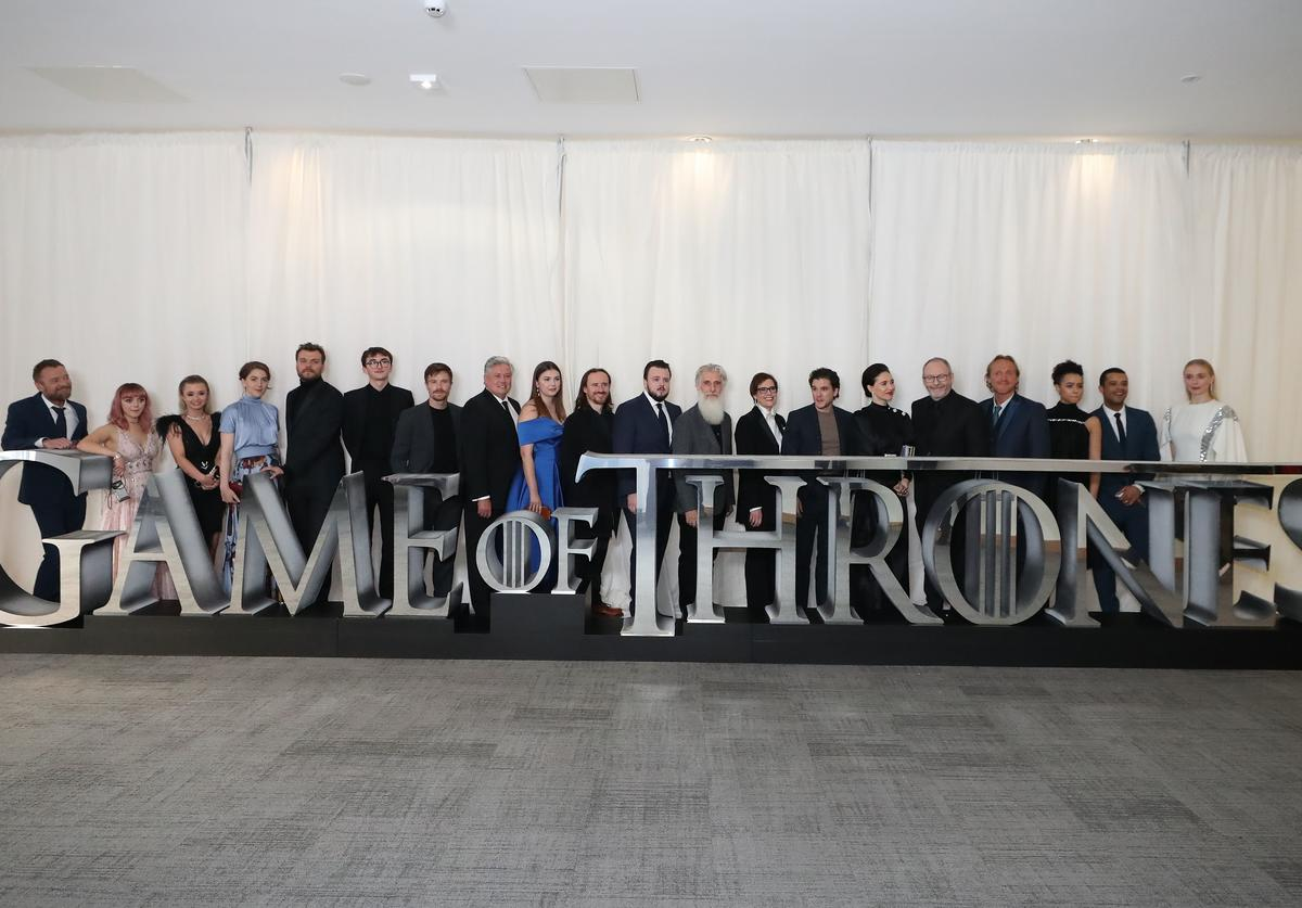 "The cast of Game of Thrones attend the ""Game of Thrones"" Season 8 premiere screening at Waterfront Hall on April 12, 2019 in Belfast, Northern Ireland. The first episode of the final season of the HBO series will air this weekend."
