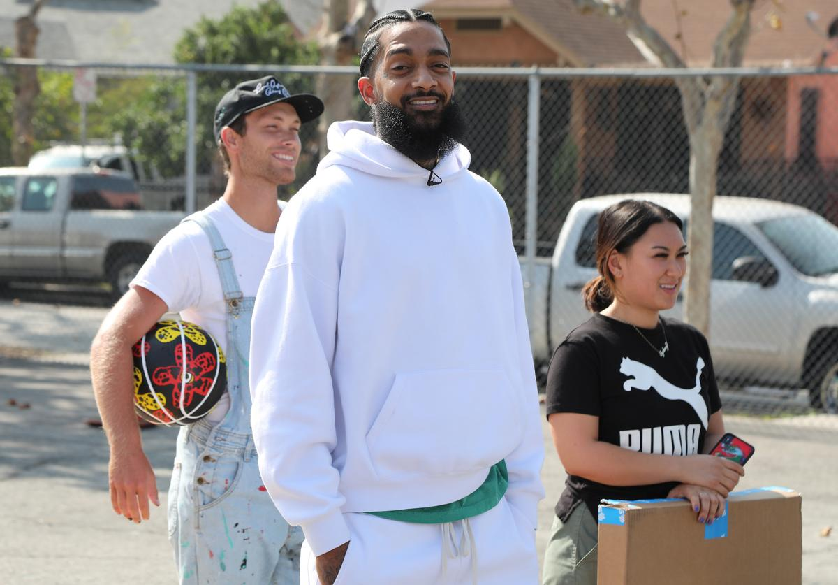 Nipsey Hussle attends Nipsey Hussle x PUMA Hoops Basketball Court Refurbishment Reveal Event