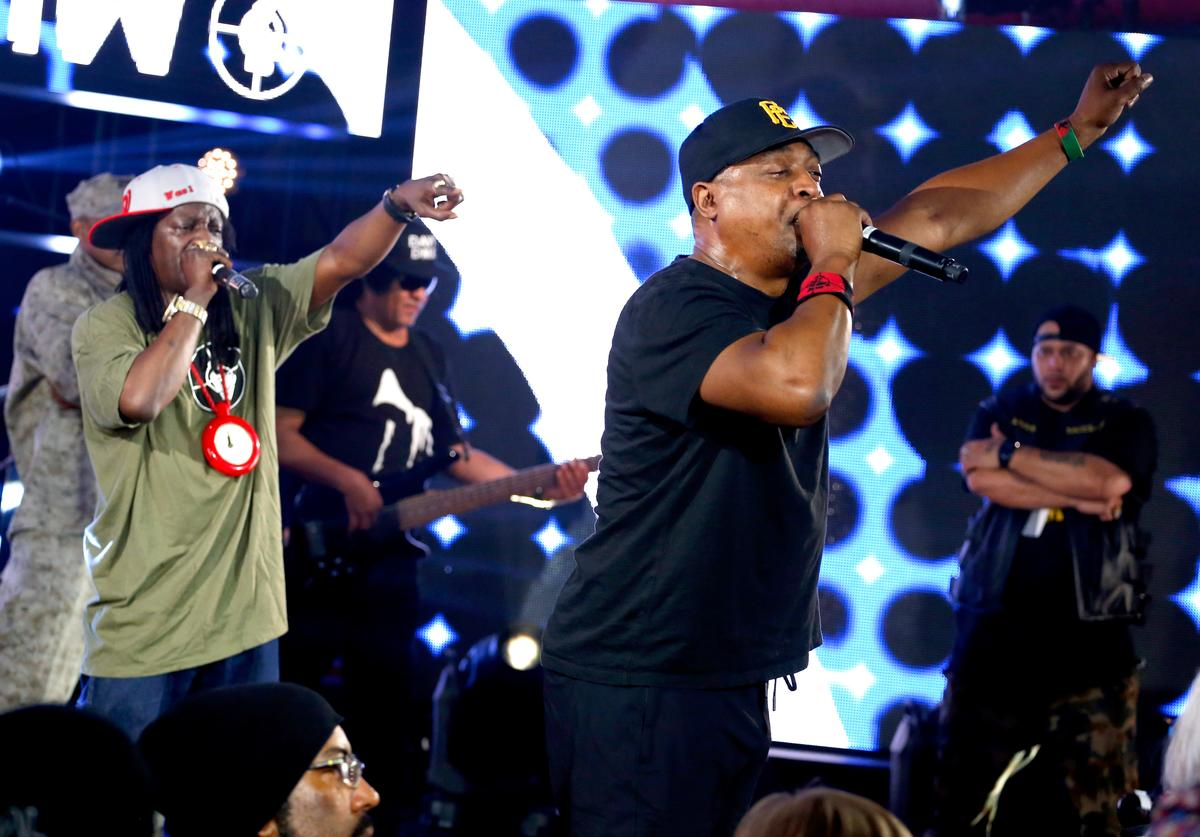 Rappers Flavor Flav (L) and Chuck D of Public Enemy perform onstage at Samsung Galaxy Life Fest at SXSW 2016 on March 12, 2016 in Austin, Texas.