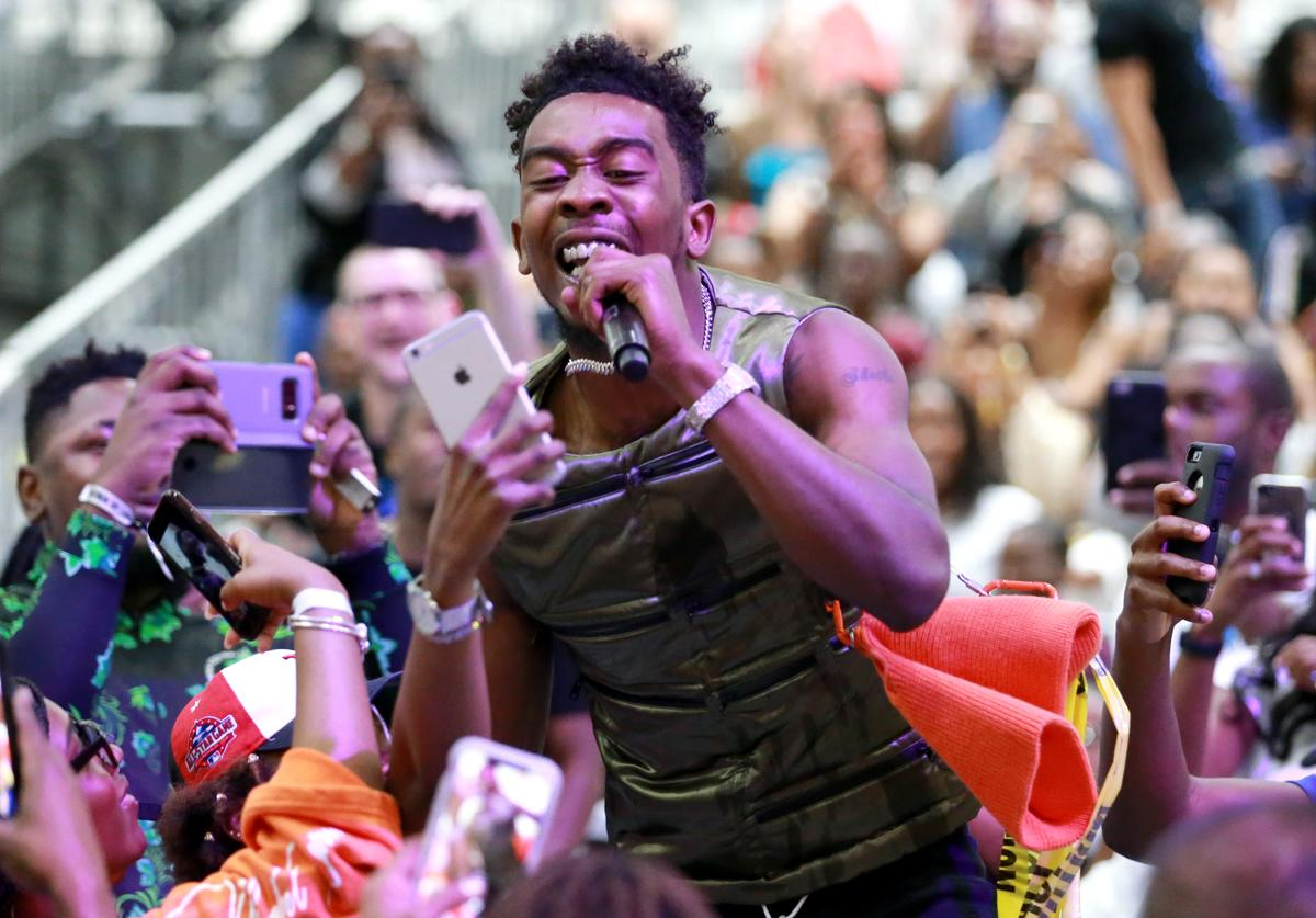 Desiigner performs at the Celebrity Basketball Game Sponsored By Sprite during the 2018 BET Experience