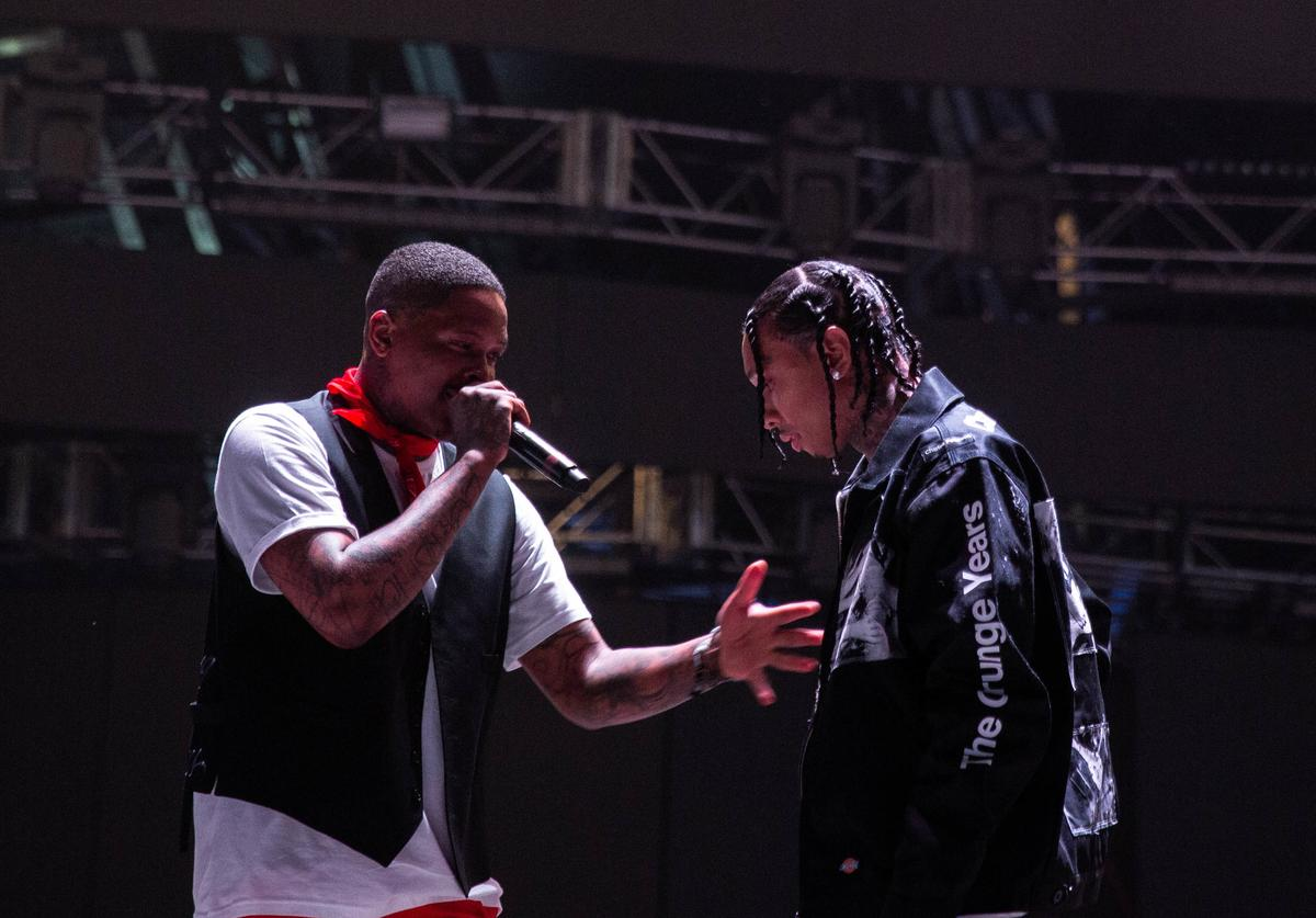 YG (L) performs with special guest Tyga (R) at Sahara Tent during the 2019 Coachella Valley Music And Arts Festival on April 14, 2019 in Indio, California