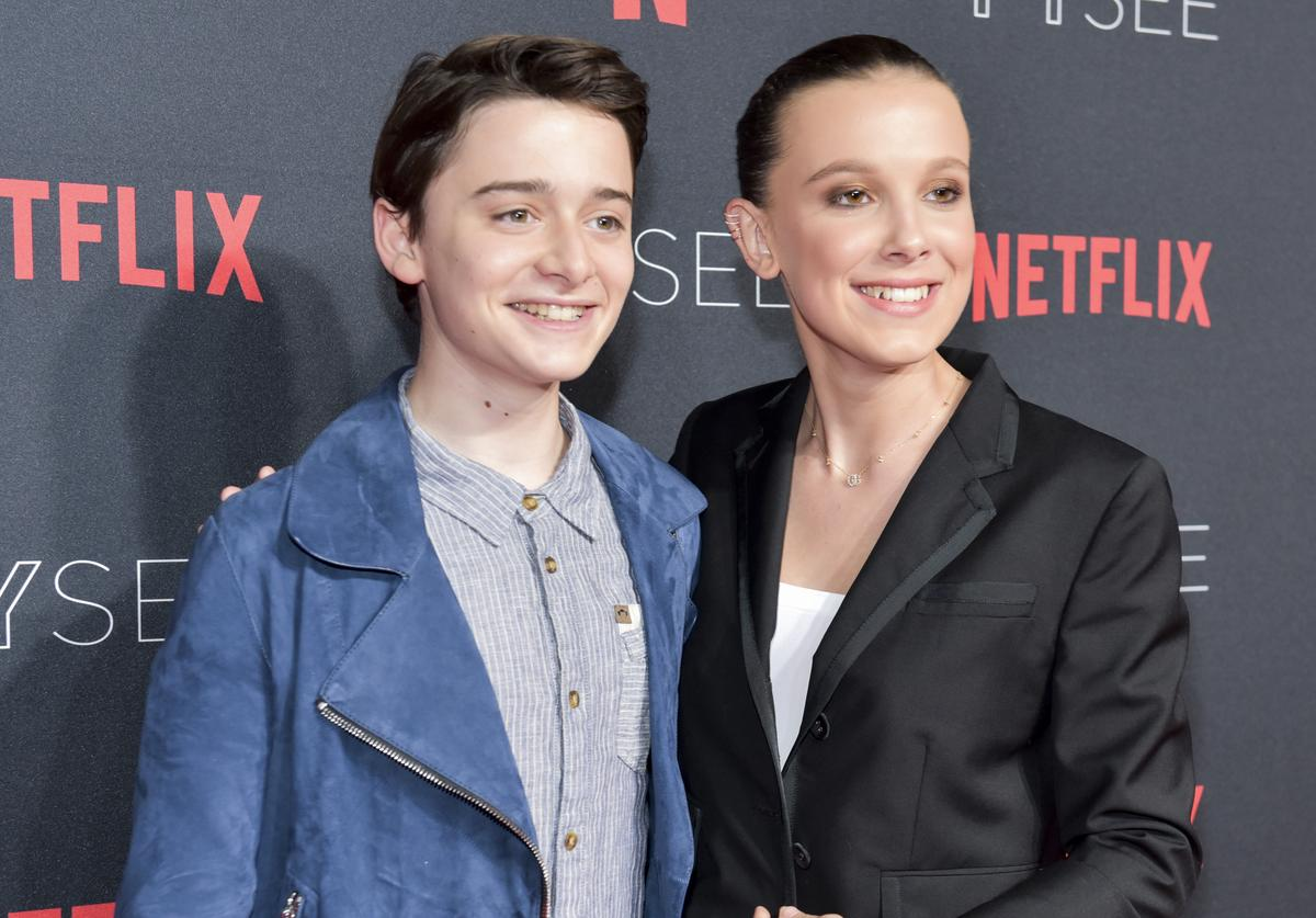 """""""Stranger Things"""" stars Millie Bobby Brown and Finn Wolfhard pose together"""