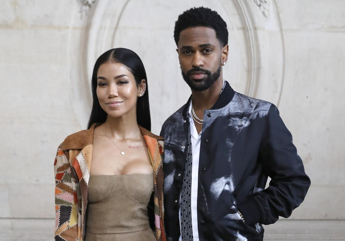 Jhene Aiko (L) and US rapper Big Sean (R) poses for a photocall prior to the Christian Dior's fashion show during the 2018 spring/summer Haute Couture collection on January 22, 2018 in Paris
