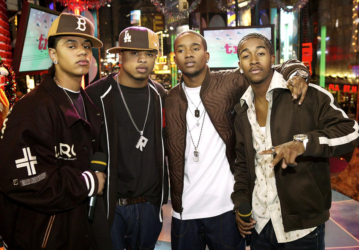 B2K appear on stage during MTV's Total Request Live at the MTV Times Square Studios December 17, 2003 in New York City.