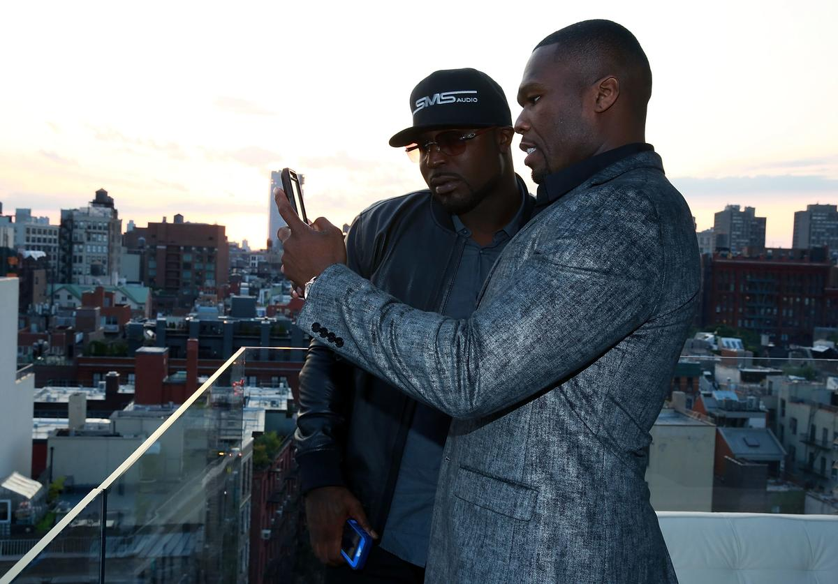 Curtis Jackson and Young Buck attend the 2014 IntelxSMSAudio BioSport Announcement at The New Museum on August 14, 2014 in New York City