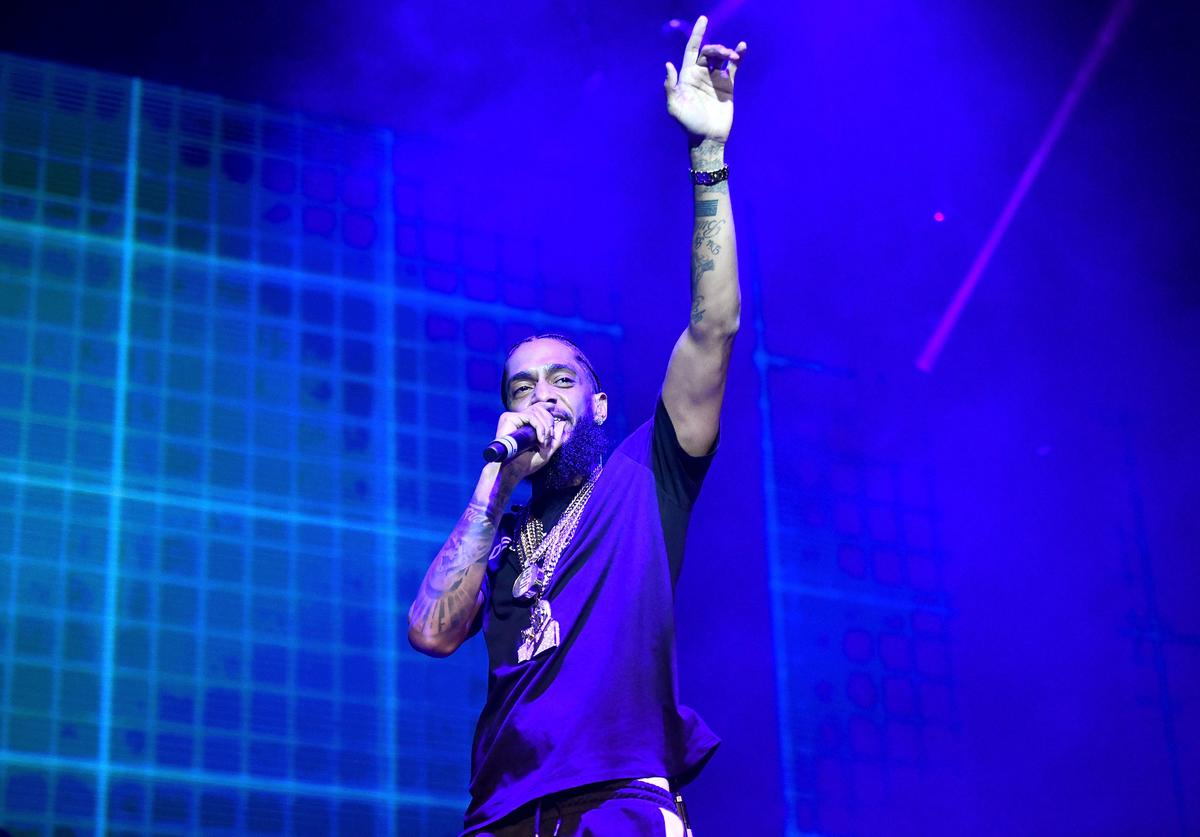 Rapper Nipsey Hussle performs onstage during the Power 106 Powerhouse festival at Glen Helen Amphitheatre