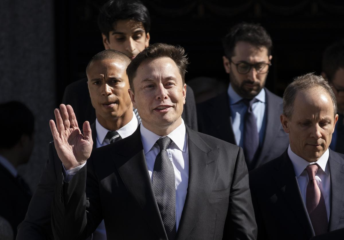 Tesla CEO Elon Musk exits federal court, April 4, 2019 in New York City. A federal judge heard oral arguments this afternoon in a lawsuit brought by the U.S. Securities and Exchange Commission (SEC) that seeks to hold Musk in contempt for violating a settlement deal.