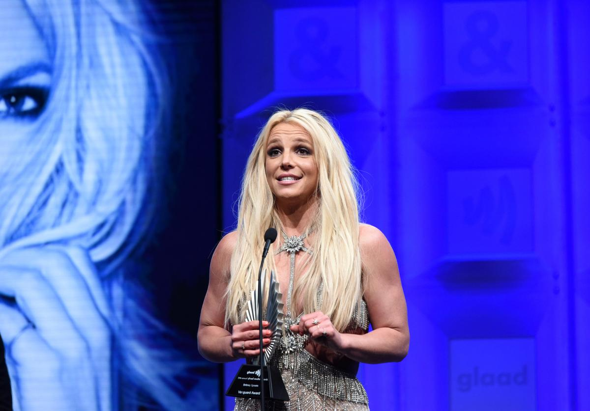 Honoree Britney Spears accepts the Vanguard Award onstage at the 29th Annual GLAAD Media Awards