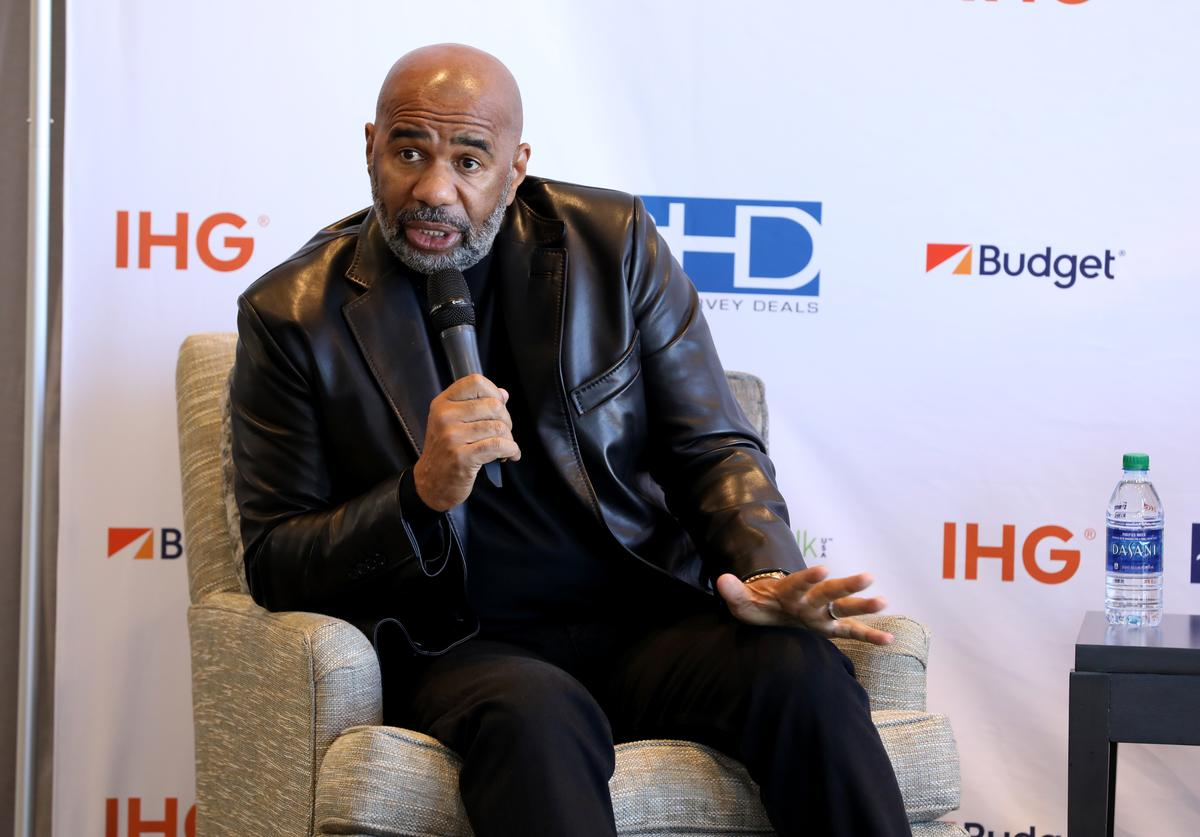 Steve Harvey announces his new business venture SteveHarveyDeals.com at Atlanta Crowne Plaza Hotel on February 02, 2019 in Atlanta, Georgia.