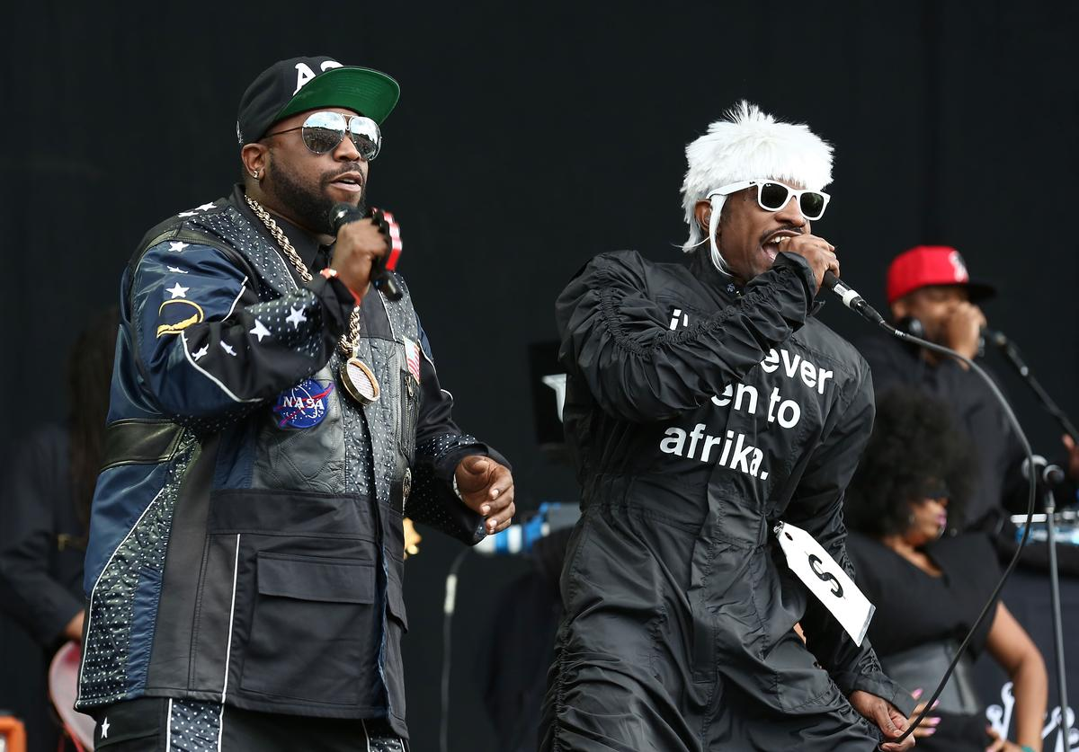 Big Boi and Andre 3000 of Outkast perform on stage at Wireless Festival at Finsbury Park on July 6, 2014 in London, United Kingdom.