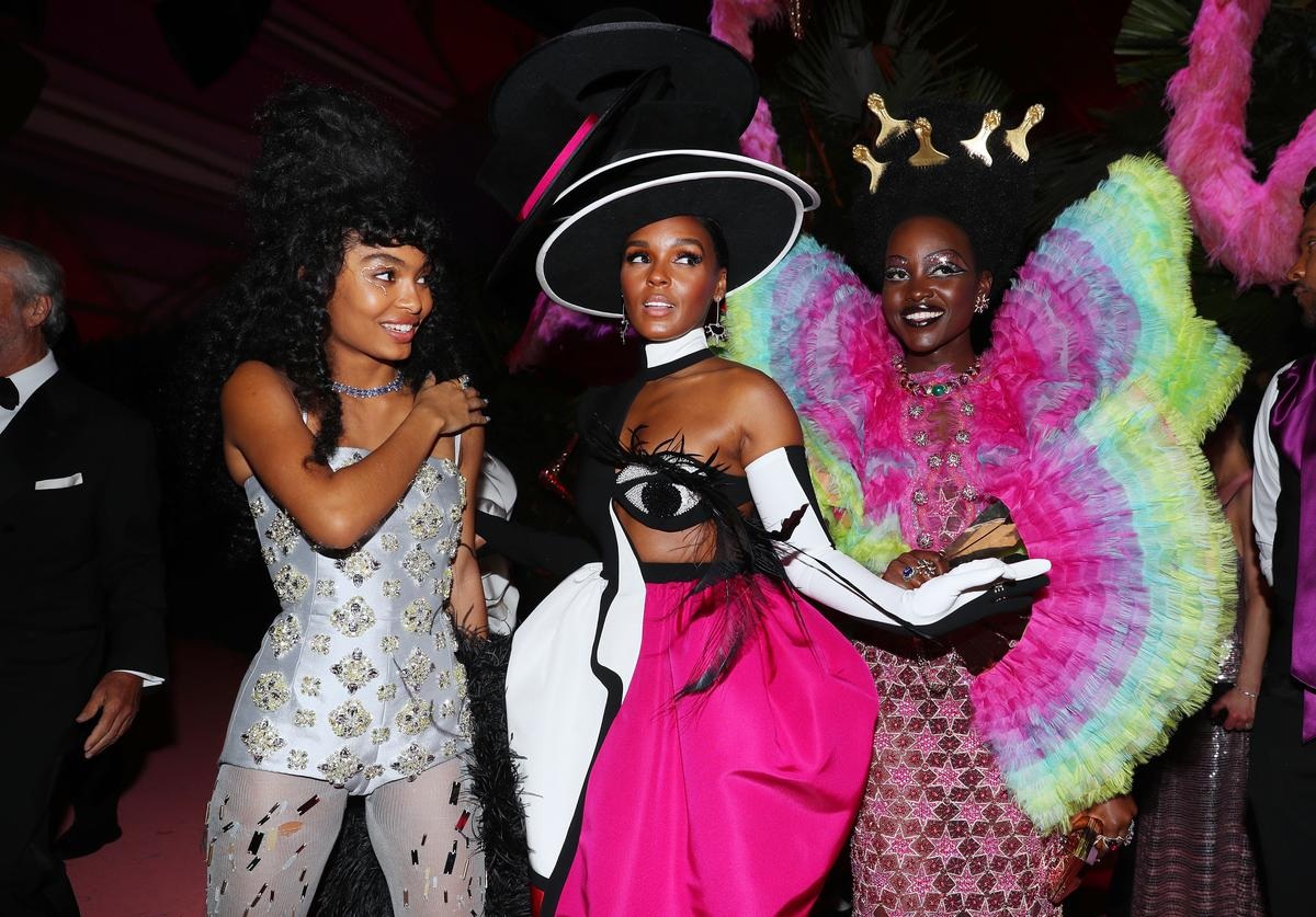 Yara Shahidi, Janelle Monáe and Lupita Nyong'o attend The 2019 Met Gala Celebrating Camp: Notes on Fashion at Metropolitan Museum of Art on May 06, 2019 in New York City