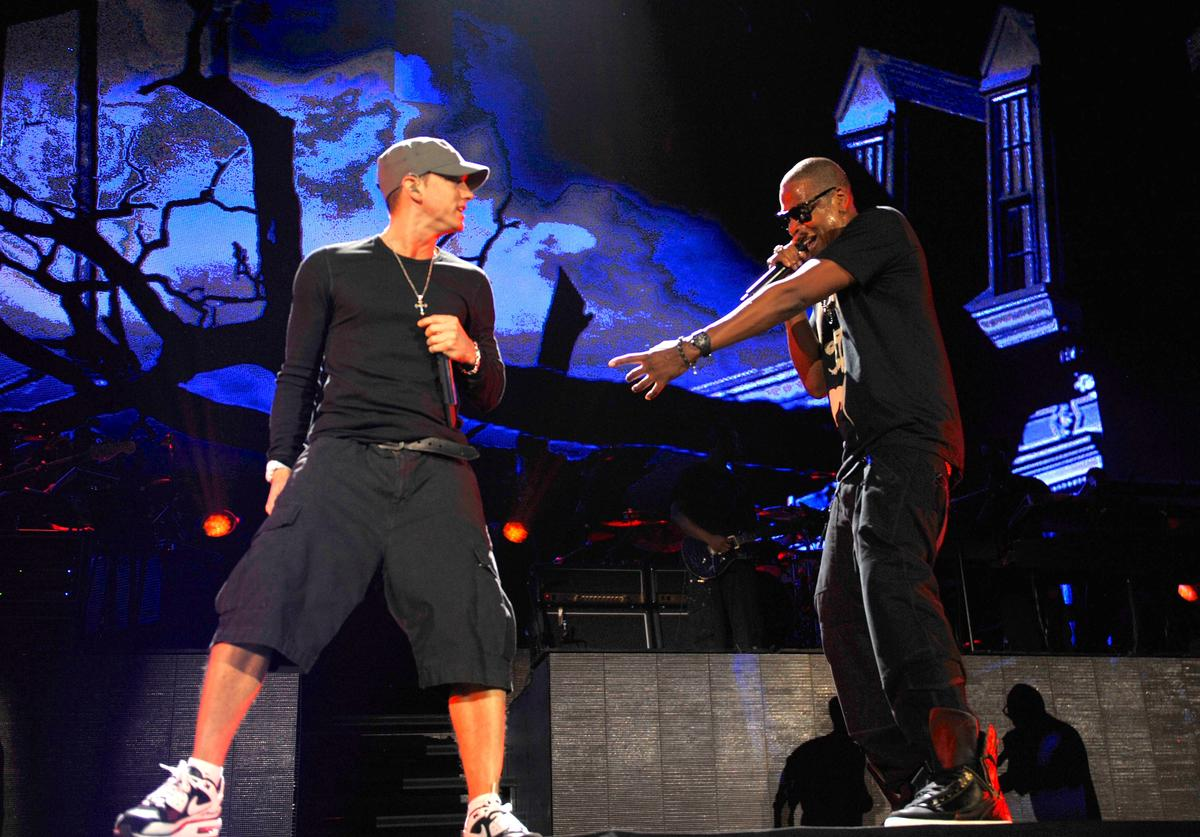 Eminem and Jay-Z perform at Yankee Stadium on September 13, 2010 in New York City.