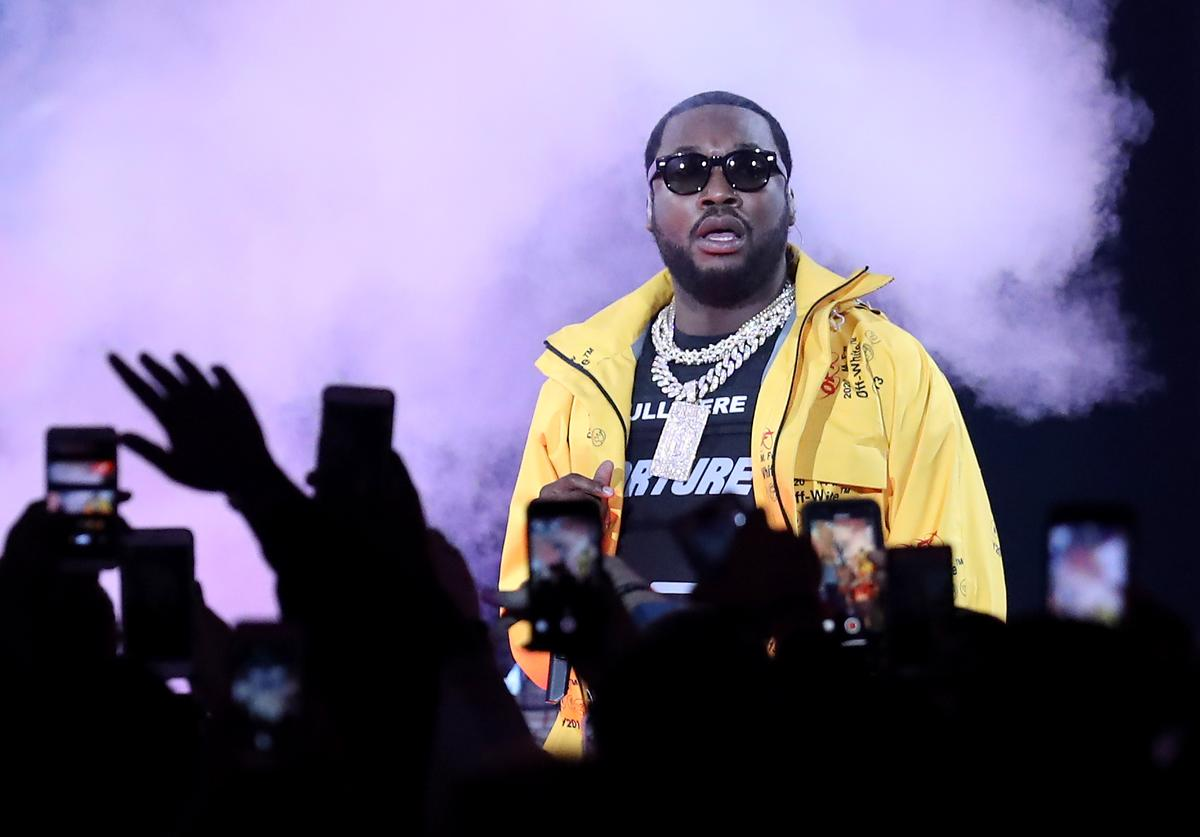 Meek Mill performs before the NBA All-Star game as part of the 2019