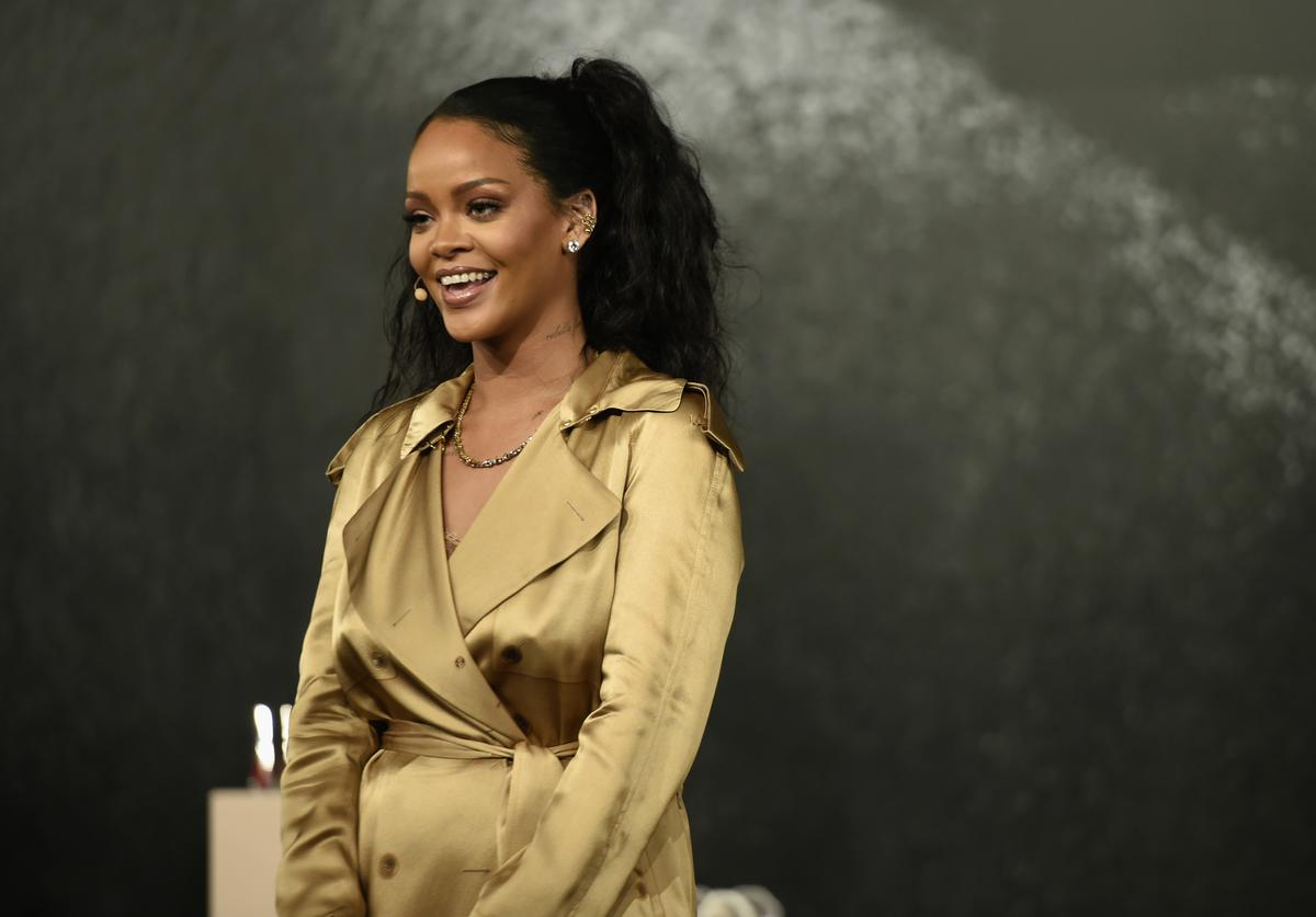 Rihanna speaks during her Fenty Beauty talk in collaboration with Sephora