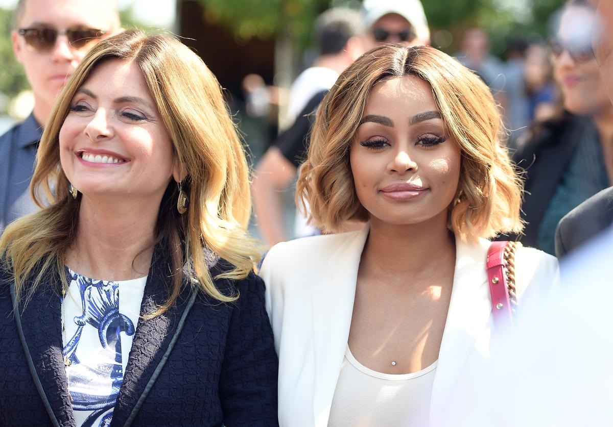 Lisa Bloom (L) and Blac Chyna attend a pre-court hearing press conference at Los Angeles Superior Court on July 10, 2017 in Los Angeles, California.