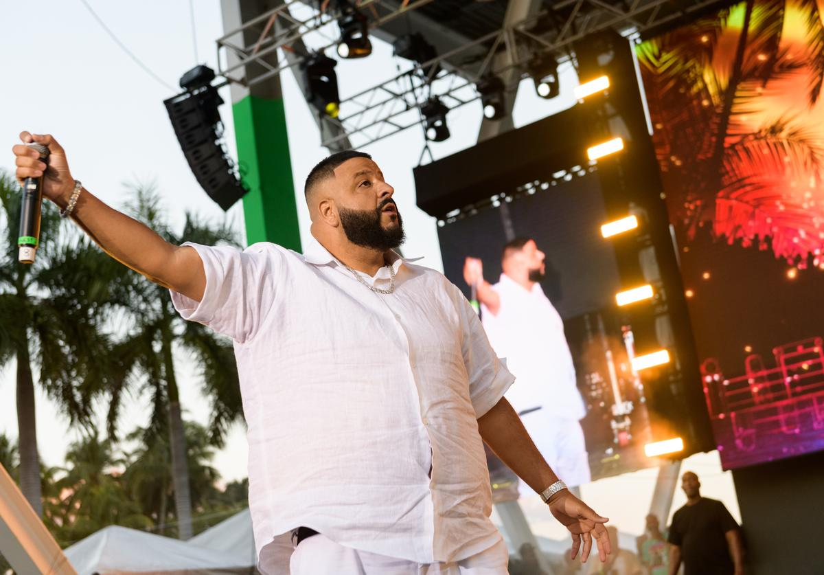 DJ Khaled performs on stage during Kaya Fest at Bayfront Park Amphitheater on April 20, 2019 in Miami, Florida