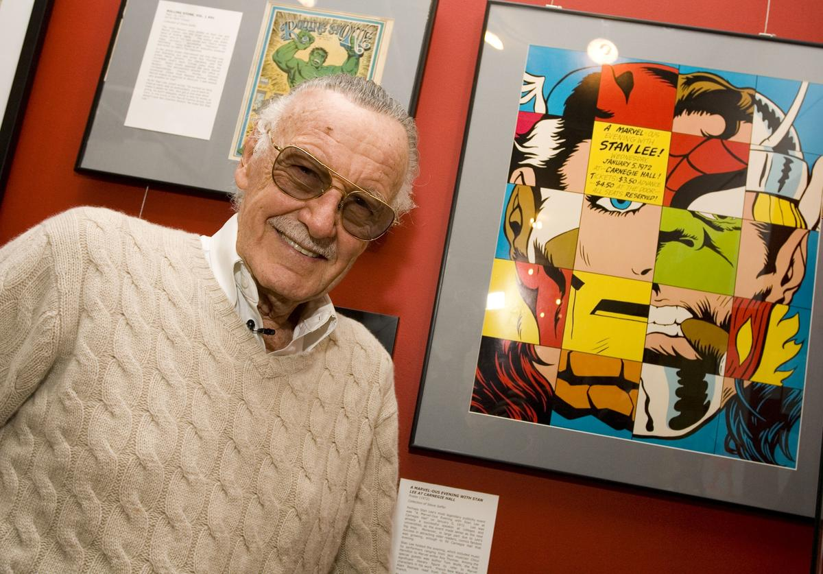 Comic book legend Stan Lee poses at the opening reception for ''Stan Lee: A Retrospective'