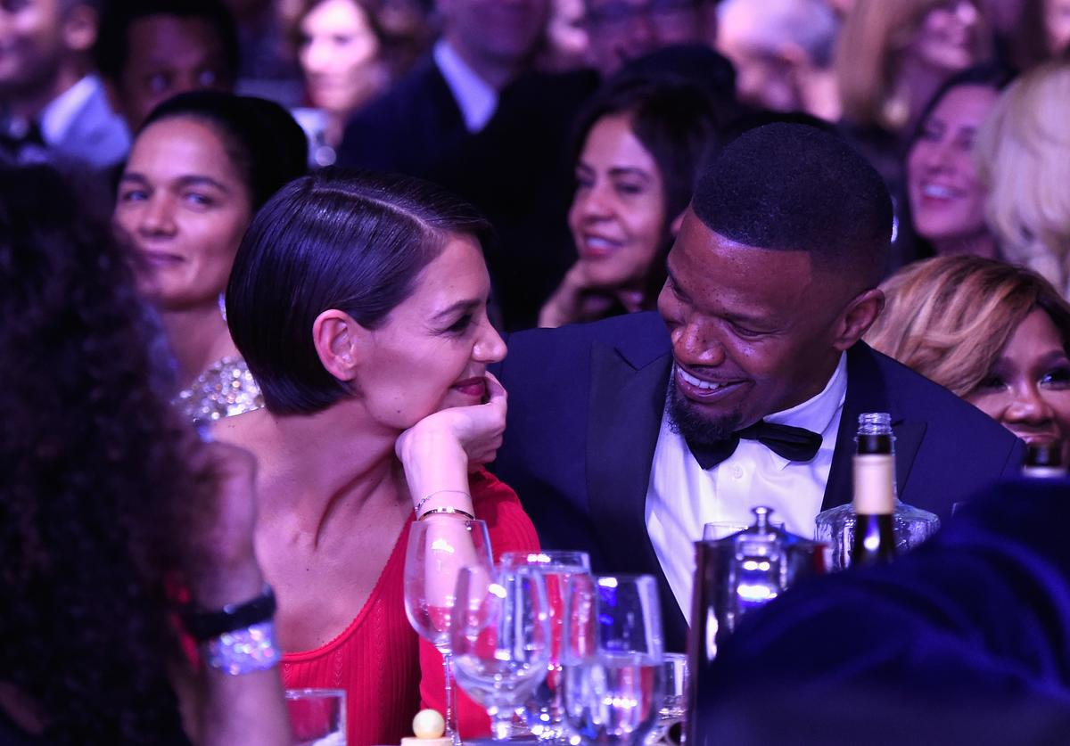 Katie Holmes and Jamie Foxx attend the Clive Davis and Recording Academy Pre-GRAMMY Gala and GRAMMY Salute to Industry Icons Honoring Jay-Z on January 27, 2018 in New York City