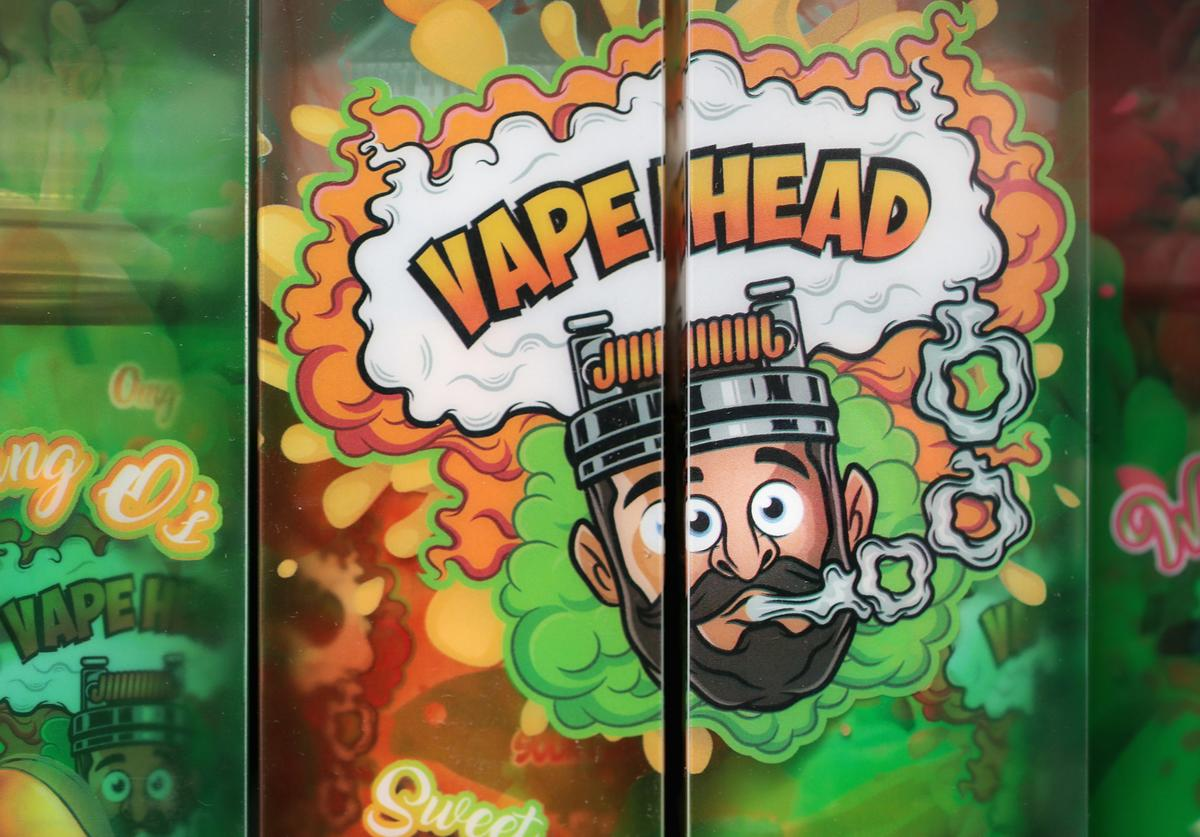 E-Liquids, which are used for vaping in electronic cigarettes, are offered for sale at the Smoke Depot